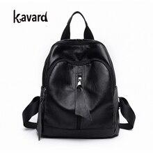 Kavard Rucksack Frauen Mode Schwarz Pu-leder Tasche für Schule für Mädchen 2017 Hohe Qualität frauen Rucksäcke Marke mochilas mujer