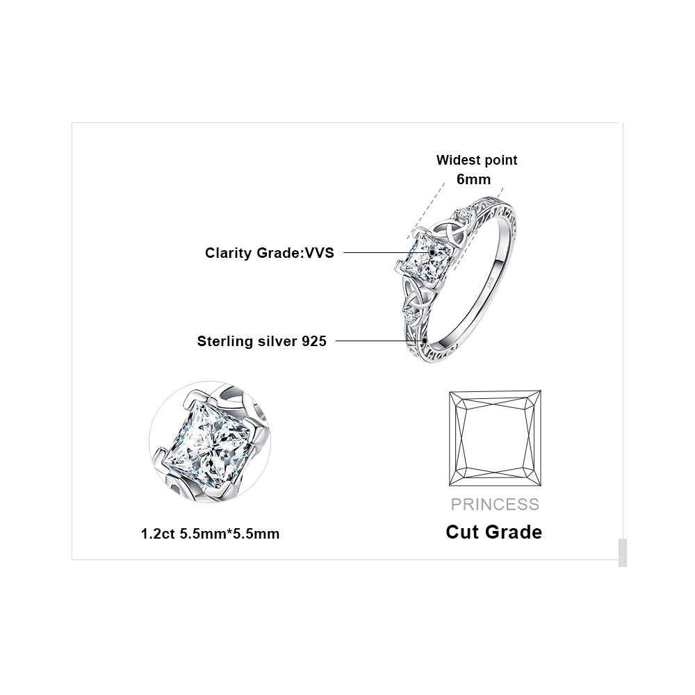 JPalace סלטיק קשר נסיכת CZ אירוסין טבעת 925 טבעות כסף סטרלינג לנשים יום נישואים חתונת טבעות כסף 925 תכשיטים