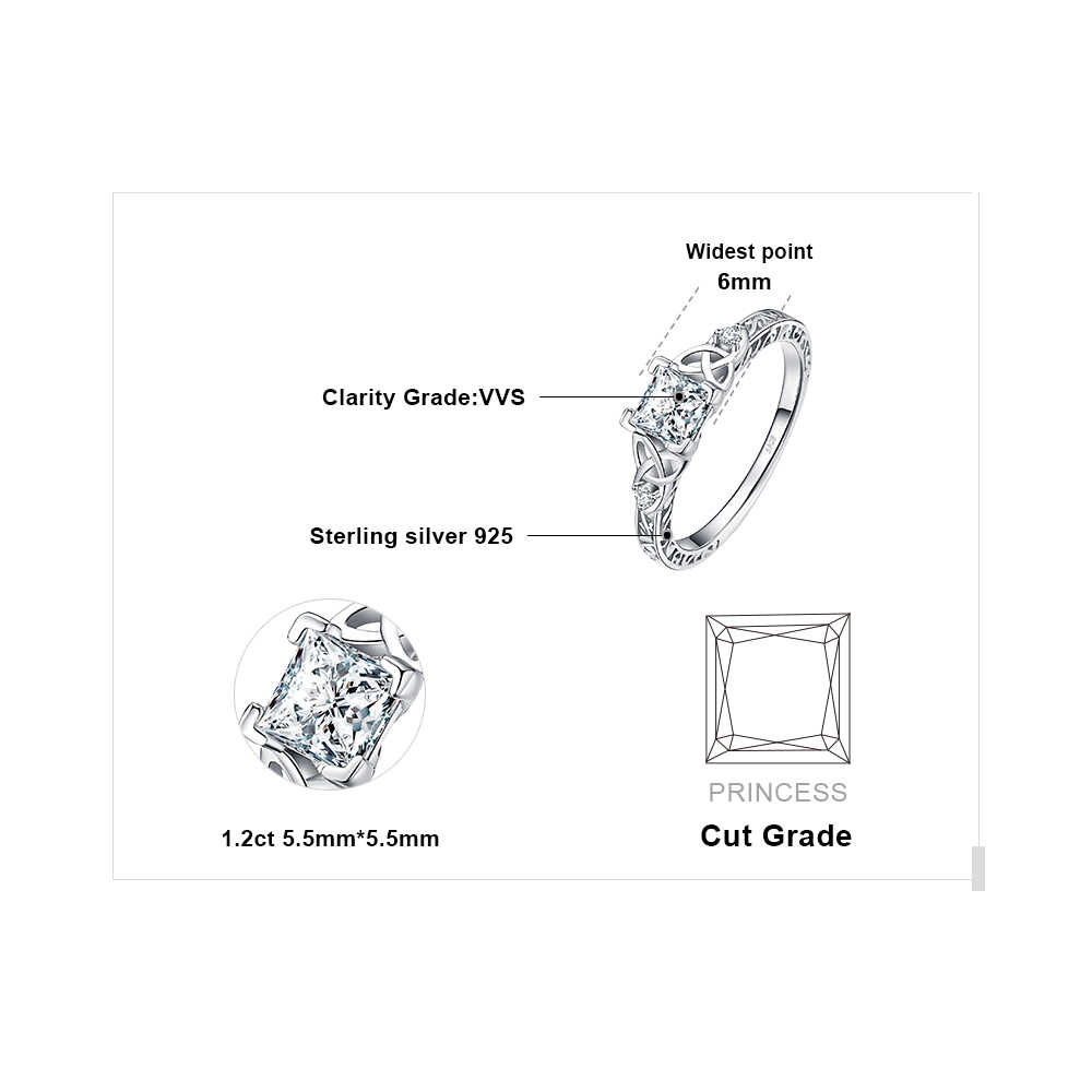 JPalace Celtic Knoten Prinzessin CZ Engagement Ring 925 Sterling Silber Ringe für Frauen Jahrestag Hochzeit Ringe Silber 925 Schmuck