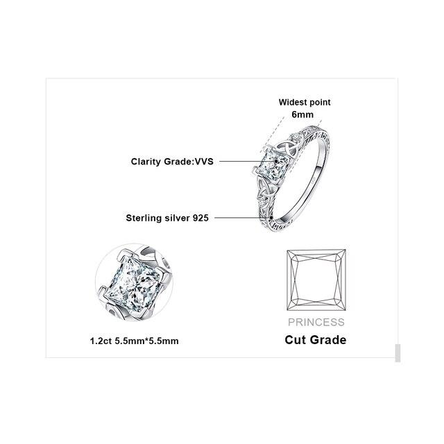 JPalace węzeł celtycki księżniczka CZ pierścionek zaręczynowy 925 srebro pierścionki dla kobiet rocznica obrączki srebro 925 biżuteria