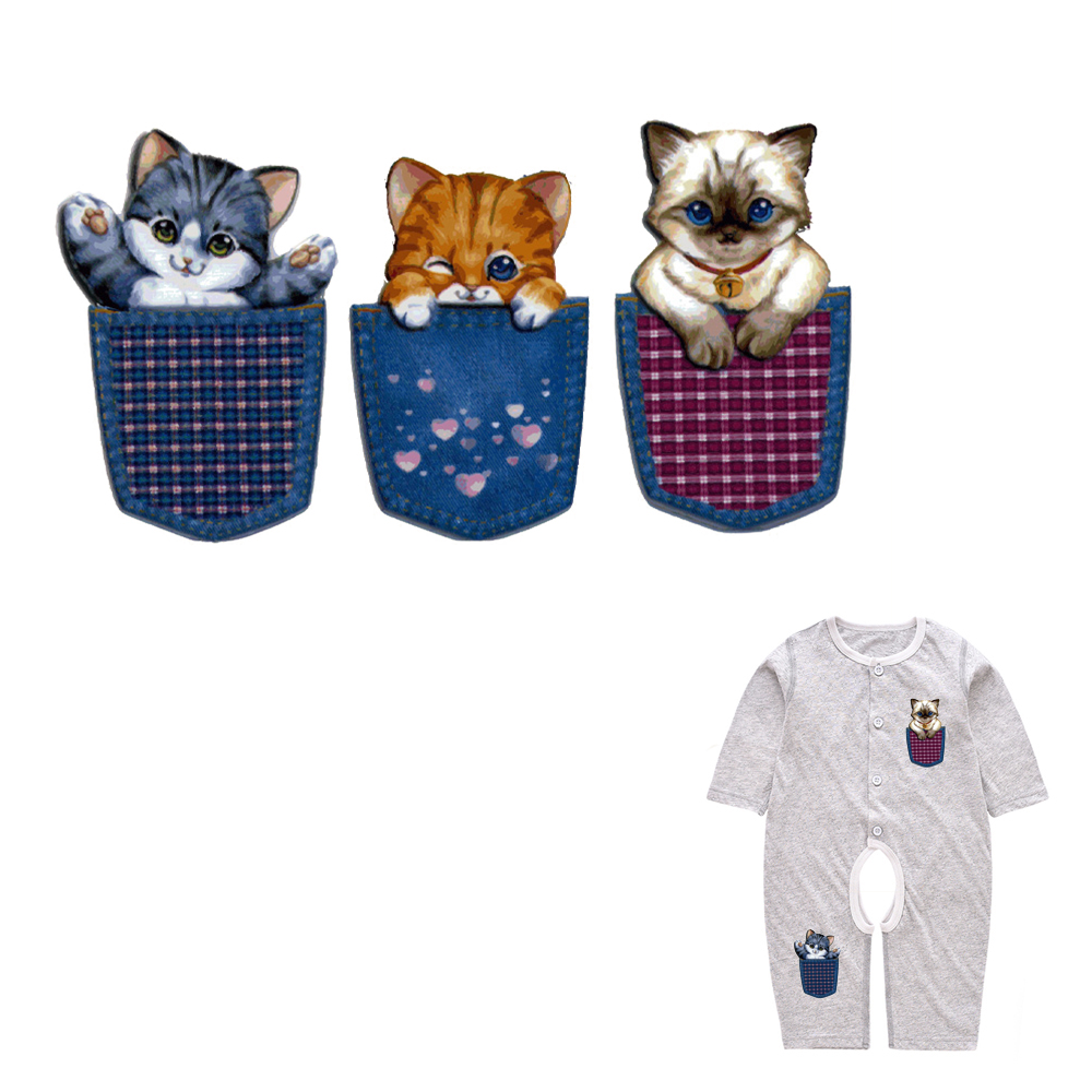 Cute Pocket Cats Series Heat Transfer Patches For Kids