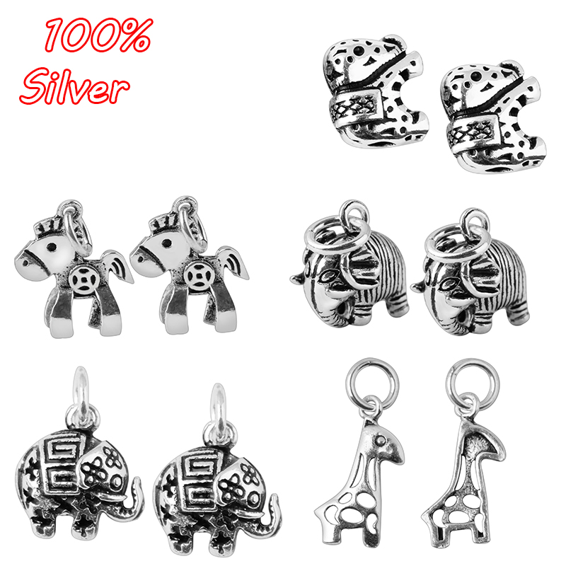 2pcs 925 Sterling Silver Accessories Antique Silver Animal Pattern Deer Elephant Horse Accessories
