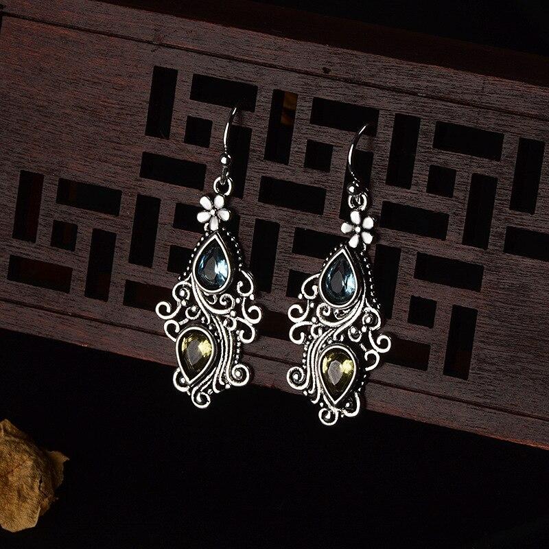 HTB1ImQQa5nrK1Rjy1Xcq6yeDVXal Gemstone Drop Earring Amethyst Peridot Sapphire Crystal for Women 925 Sterling Silver Fine Jewelry Long Dangle Tassel Bizuteria