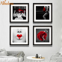 Black and White Red Fashion Decor Sexy Woman Canvas Painting Wall Art