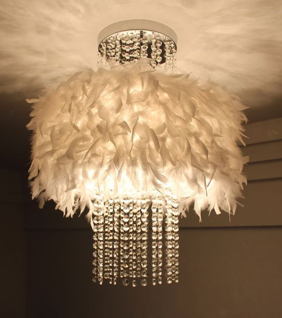 Modern Pendant Ceiling Lamps Feather Lamp Shade Hanging Light Lights Crystal Led White Lighting Bedroom
