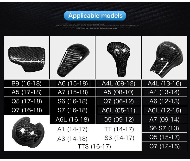 Carbon Fiber Gear Shift Knob Cover Head for Audi A4 B9 B7 A5 Q7 A3 S3 A4 B8 A5 C6 A6 C7 C6 S6 A7 S7 A8 Q5 Accessories (3)