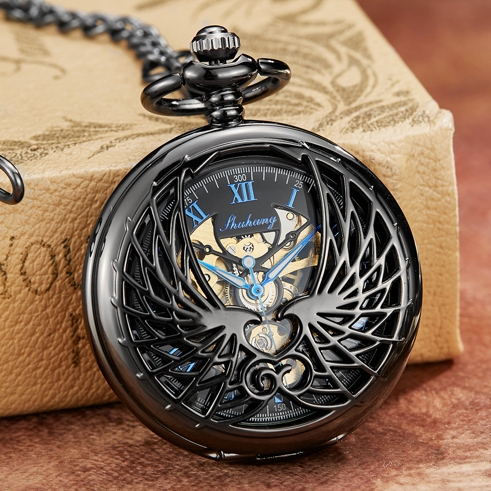 Luxury Mechanical Pocket Watch With Chain Angel Wings Hollow Hand Winding Pendant Clock Men Women Bronze Black Flip Fob Watches