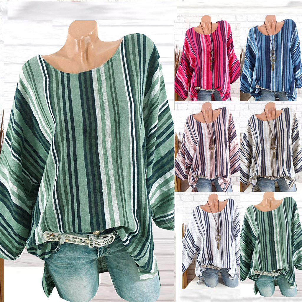 Plus Size Women Casual O-Neck Stripe Print long Sleeve   Blouse     Shirt   Tops Large size round neck striped print top