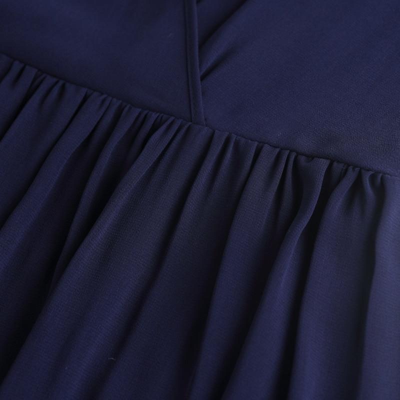 Blue E Dal Casual Senza Borda Che Elegante Blu Nuovo Fascia Vestito Europeo Vestiti Collare Carro Di Round Alta Armato Maniche Scuro Estate Americano Dark Donne Delle 41fp7dq