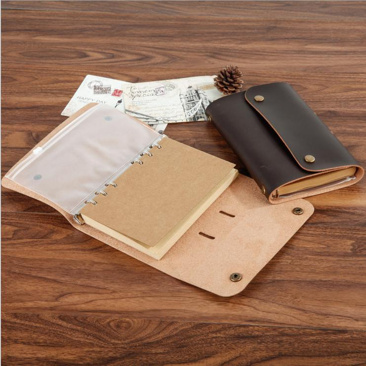 2017 HIGH QUALITY Vintage PU Genuine Leather Travel Journal Notebook Spiral Diary notepad 6 ring binder string stationery 01711 kicute vintage scrapbook leather cover travel notebook journal diary blank kraft paper a5 spiral string nautical 6 ring binder