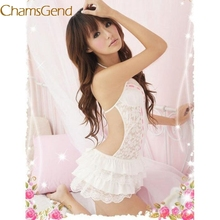 Chamsgend sexy Lace women 2017 Black White Passion Lingerie Backless Halter Babydoll G-string petticoat Mini underskirt 78#