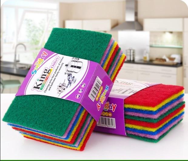 10pcs set Multi-purpose Kitchen Anti-oil Dish Cloth Color Scouring Pad Dish bec0021ff752b