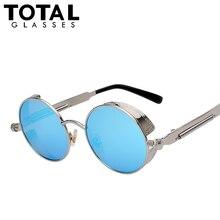 Зеркальные золь gafas стимпанк готический круг masculino покрытие солнцезащитные круглый ретро