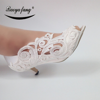 New white Flower Women Wedding shoes Bride crystal fashion shoes party dress shoes female Peep Toe open side Bridal shoes