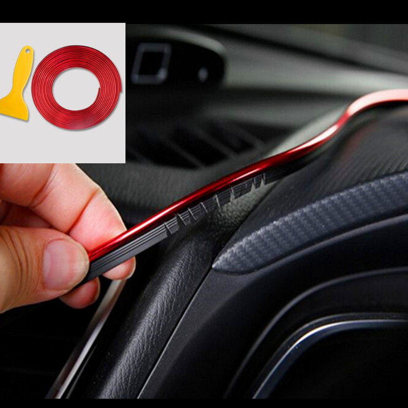 NEW 3D 5M Car Styling Brand Stickers and Decals Interior Decorative 3D Thread Stickers Decoration Strip on Auto Accessories