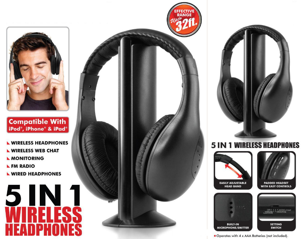 Volemer New Multifunction 5 in 1 FM Wireless Headset Earphone for MP4 PC TV CD MP3 Black with FM raido headphone headphones 2017 brand new multifunction 5 in 1 cordless headphone fm wireless headset earphone for mp4 mp3 pc tv ipod auriculares mikrafon