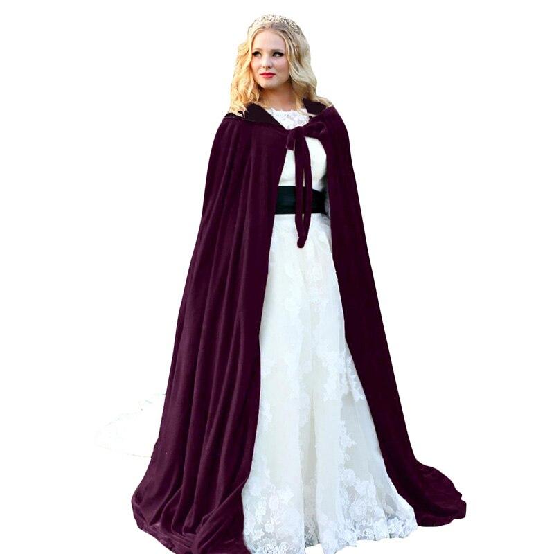 Adultos niños Halloween con capucha capa terciopelo brujas princesa muerte capa larga vampiro capa Cosplay disfraz nuevo Outwear gótico capa