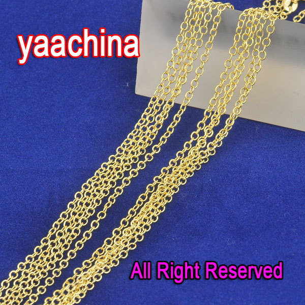 JEXXI Free Shipping 18 Inches Fashion Yellow Gold Filled Chains Necklaces ROLO Word O Chain Necklace 1.3MM For Pendant New
