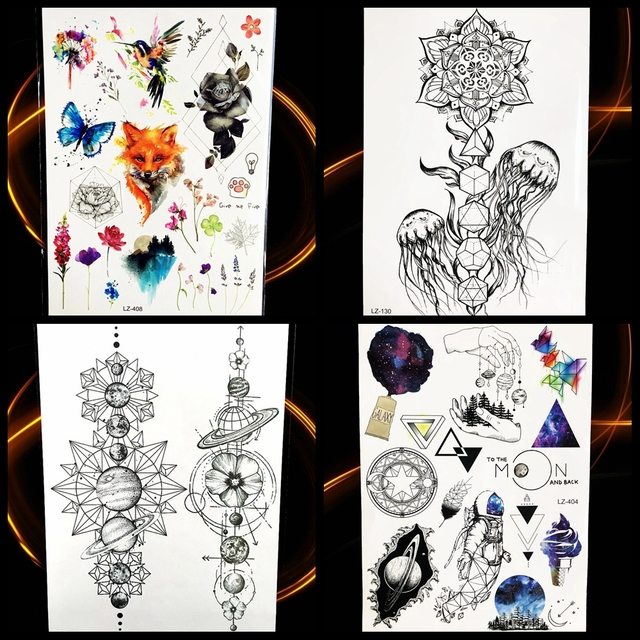3d Black Geometric Jellyfish Temporary Tattoo Stickers Women Mandala