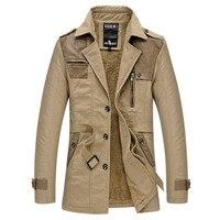 Winter Jacket Men Warm Cotton Parka Men Spliced Leather Turn-down Collar Jackets Men Thick Velvet Trench Coat Mens Overcoat