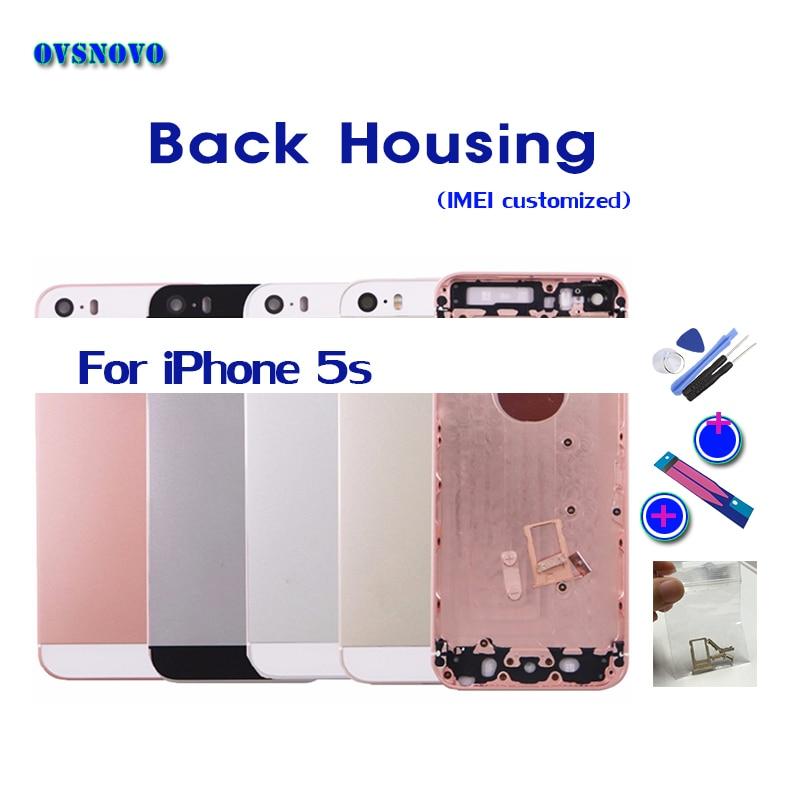 Chasis para iPhone 5S vivienda Coque caso trasero de la cubierta de batería Parte Trasera reemplazo del cuerpo puede personalizar imei regalo