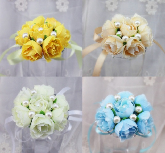 24 x pink blue white champagne yellow purple wedding prom wrist flowers corsage crosage silk rose flowers for bridal bridesmaid in party favors from 24 x pink blue white champagne yellow purple wedding prom wrist flowers corsage crosage silk rose mightyli