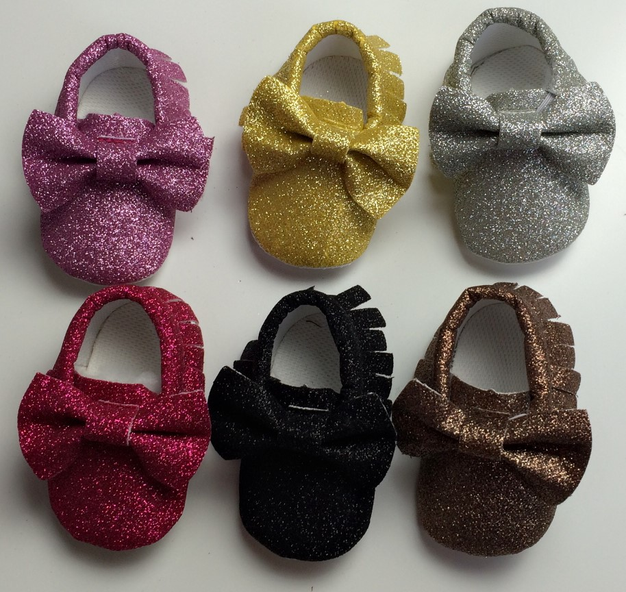 a976ea8667a New glitter sequin soft kids PU Leather Baby Moccasins bow soft bottom boys  girls First Walkers fringe bebe infant toddler shoes, 0