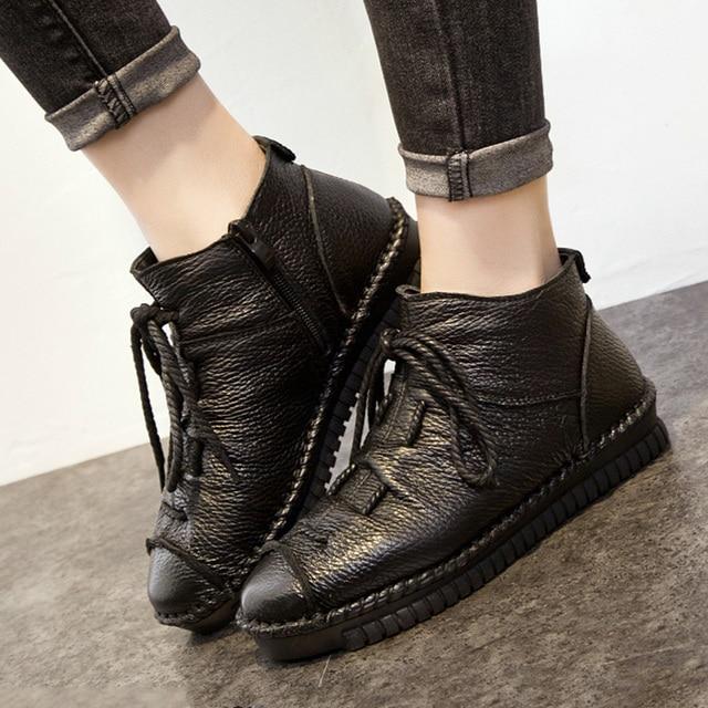 Nuevas Mujeres Botas Botines de Piel Botas de Nieve Caliente Niza Moda OtoñoInvierno Botas de Cuero Zapatos Planos de Las Mujeres Zapatos Mujer Negro