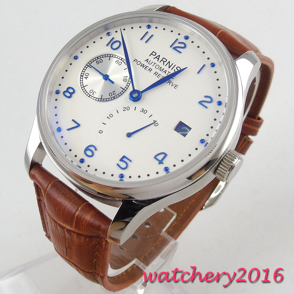 Newest Hot 43mm parnis White Dial Blue Marks Power Reserve Brown Leather Strap Complete Calendar Automatic Mechancial Mens Watch hot sale 46mm parnis black dial power reserve white marks automatic men wrist watch