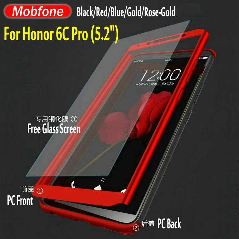 Mobfone Case For Huawei Honor 6C Pro 5.2inch V9 PlAY 360 Full Protection Back Cover Front + Back With Free Glass Protector