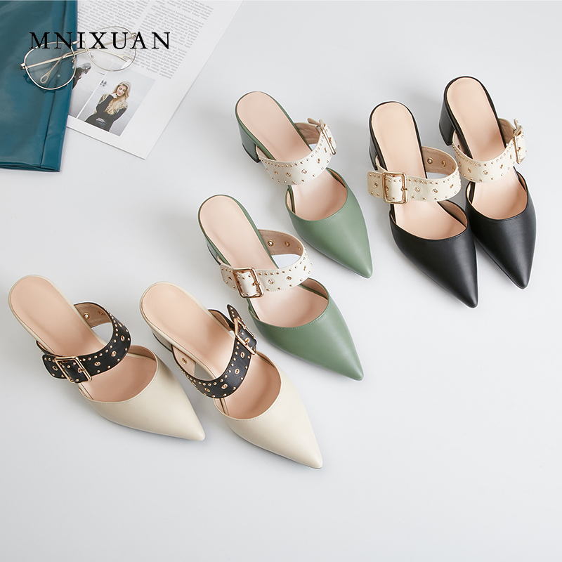 MNIXUAN Handmade casual covered toe women shoes mules 2019new leather pointed toe buckle thick high heel slipper sandals rivets MNIXUAN Handmade casual covered toe women shoes mules 2019new leather pointed toe buckle thick high heel slipper sandals rivets