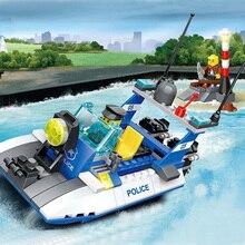 WANGE DIY Building Blocks Toys Enlighten Assembly Bricks Police Series Motor Boat Vehicle Lighthouse Model Gift For Child