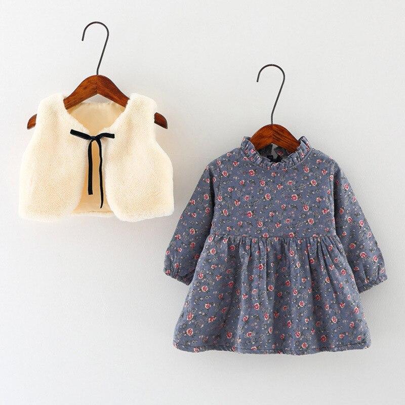 Girls dress Winter dresses girl Kids clothes Faux fur vest+dress Fleece inner Warmed for winter Baby girl dresses 1-3y
