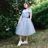 Custom Made 7 Layer Midi Tulle Skirt American Apparel Tutu Skirts Womens Petticoat Elastic Belt 2016