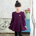 Children 's new girls autumn and winter plus round neck long - sleeved dress pupil solid color knee dress baby girls dress