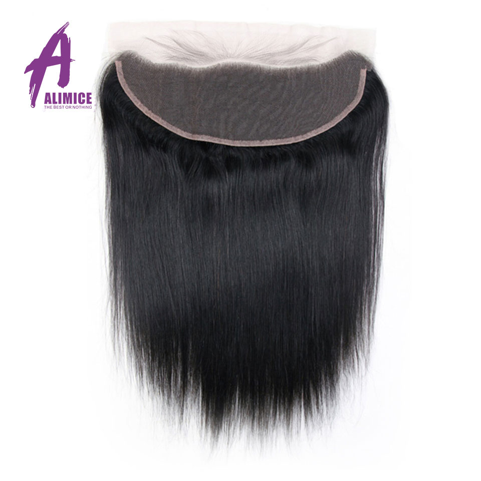 ALIMICE Hair Indian Straight Pre Plucked Lace Frontal Closure 13X4 Ear to Ear Human Hair Closure