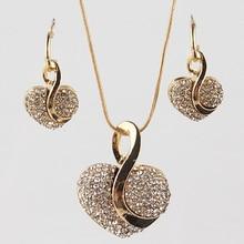 Fashion Jewelry Luxury Gold-color Romantic Austrian Crystal heart shape