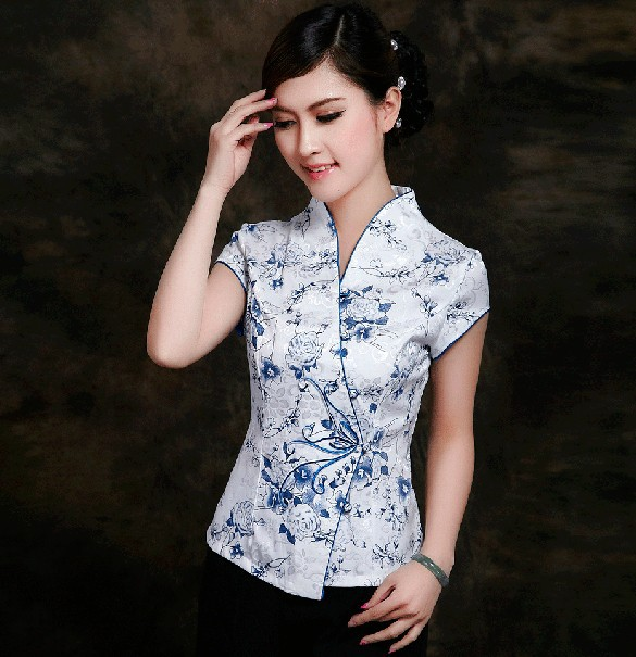 Moda azul de las mujeres chinas clothing algodón de lino blusas tapas de la cami