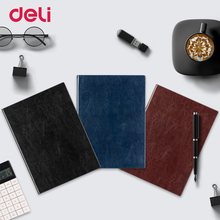 Deli A4 hardcover soft PU leather diary notebook trendy school vintage office planner journal traveler book fashion notebook стоимость