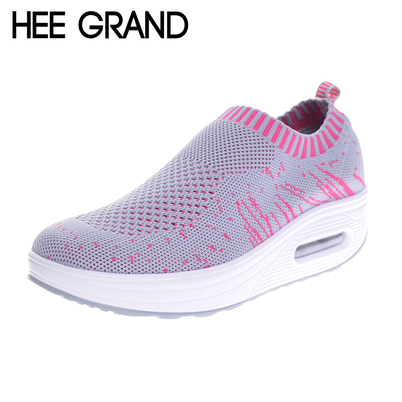 HEE GRAND Women Creppers Breathable Mesh Casual Shoes Woman Platform Swing Flats XWC1193 free shipping 2017 summer style women casual shoes women s swing shoes breathable gauze platform shoes single elevator shoes