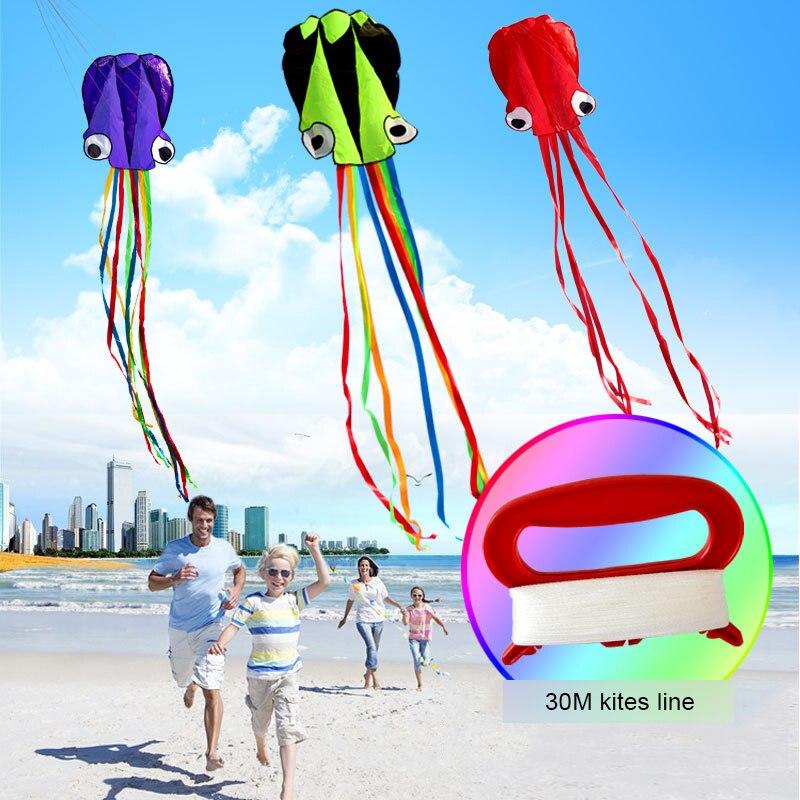 3D Kite Frameless Soft Parafoil Octopus Flying Kite Outdoor Sports Toy Children Kids Funny Kites Easy To Fly Power Kite