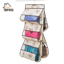 Snailhouse 6 Pocket Hanging Handbag Organizer for Wardrobe Closet Storage Bag Door Wall Sundry Shoe with Hanger Pouch
