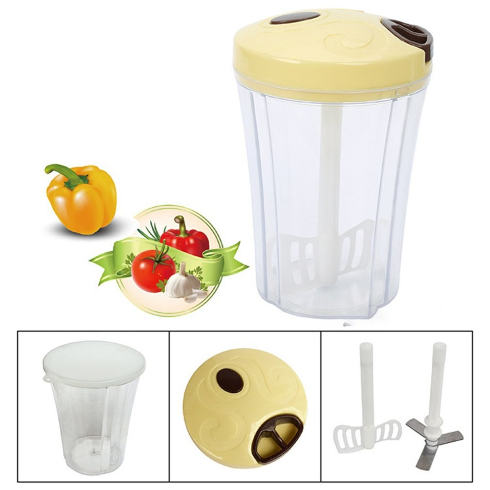 Multifunction Food Chopper High Speedy Garlic Cutter Household Vegetable Fruit Twist Shredder Manual Meat Crusher