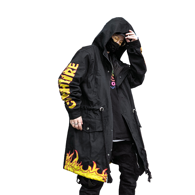 Flash Fire Men Streetwear Hip Hop Long L Harujuku Hood Trench Overcoat Flame Printing Windbreaker Jacket Male Coat Punk Rave