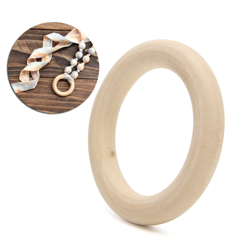 100mm  Natural Wood DIY Wooden Beads Connectors Circles Rings Beads Lead-Free
