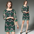 Novas sete manga primavera bordado pesado saco de quadril fino elegante e luxuoso design elegante acttractive verde costura feminina dress