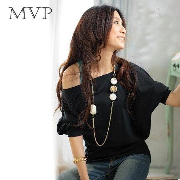 T Shirt Women Female T-Shirt Tshirt Women Tops 2018 Sexy Off Shoulder Buttons Half Batwing Sleeve Cuffs T-Shirts Plus Size
