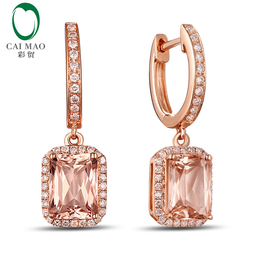 Free Shipping 2 95ctw Morganite Diamond Drop Dangle Earrings Real 14kt Rose Gold New Arrival