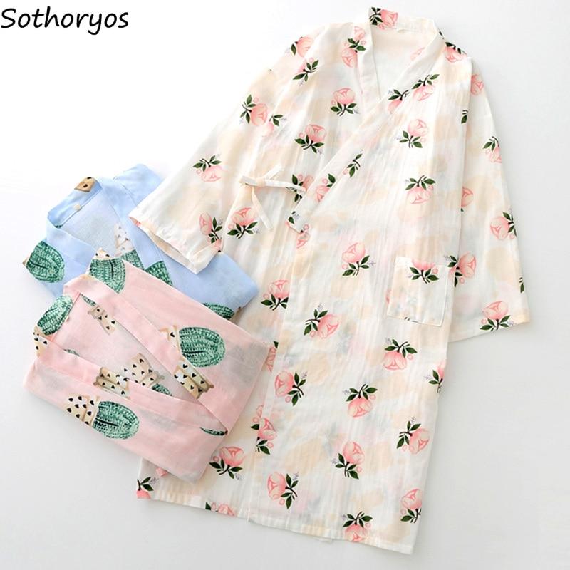 Image 2 - Robes Women Elegant Trendy Lovely Loose Bathrobe Japanese Printed Kimono Robe Simple Daily Sleepwear Womens Breathable StudentRobes   -