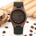 Женские кварцевые часы  Элегантные повседневные часы из натуральной кожи с ремешком в виде кофейного дерева